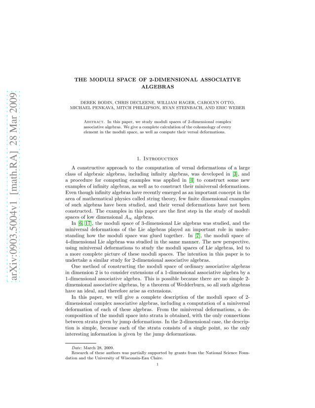 Derek Bodin - The moduli space of complex two dimensional associative algebras