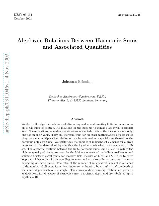 J. Blümlein - Algebraic Relations Between Harmonic Sums and Associated Quantities